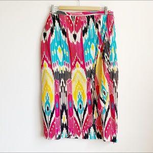 vintage silk graphic print high waist midi skirt